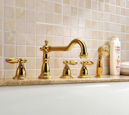 Antique Classic Golden Printed Luxury Widespread Tub Tap with Hand Shower BT0889