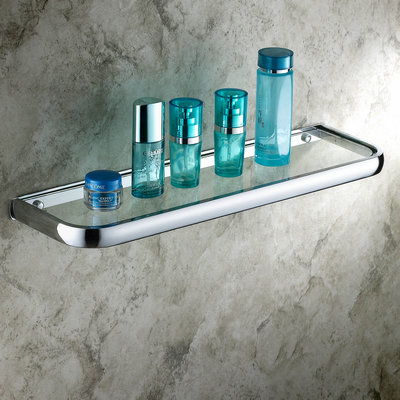 Chrome Finish Wall Mounted Contemporary Style Brass Glass Shelf TCB7405