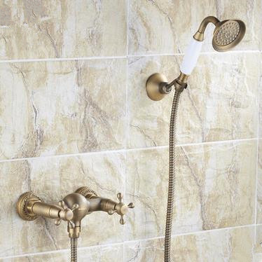 Antique Brass Finish Two Handles Tub Tap with Hand Shower - FB005