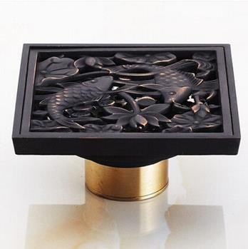 Antique 4 Inch Brass Black Bronze Floor Drain FD023