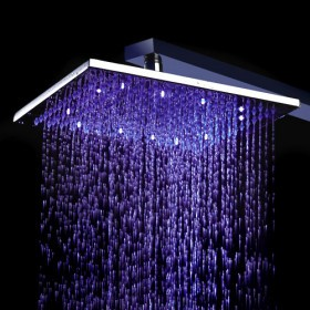 Contemporary 8 inch Brass Color Changing LED Light Shower Head HB8F