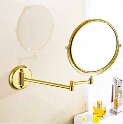 Brass Finish Wall Mounted Bathroom Two Sides Magnifying