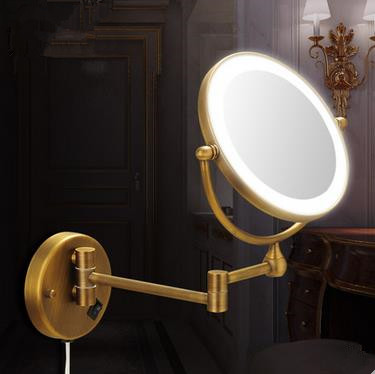 Antique Brass Finish Wall Mounted Bathroom Magnifying Glass Cosmetic Mirror MB004