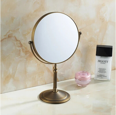 8 Inches Antique Brass Pastoral Style Bathroom Desktop Make Up Mirror MB158