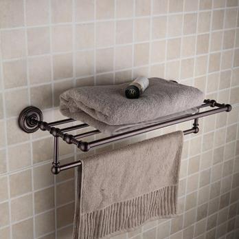 Oil rubbed bronze brass 24 inch bathroom shelf with towel - Oil rubbed bronze towel bars for bathrooms ...