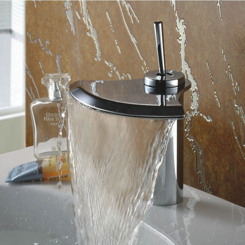 Contemporary Chrome Finish Single Handle Waterfall Bathroom Sink Tap TQ3001