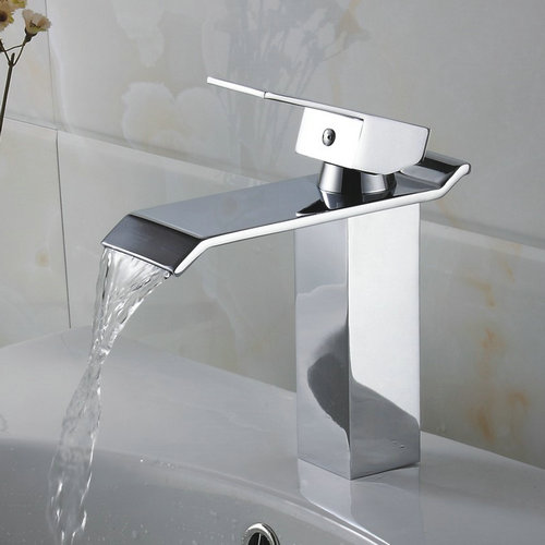 Contemporary Waterfall Bathroom Sink Tap - Chrome Finish TQ3002