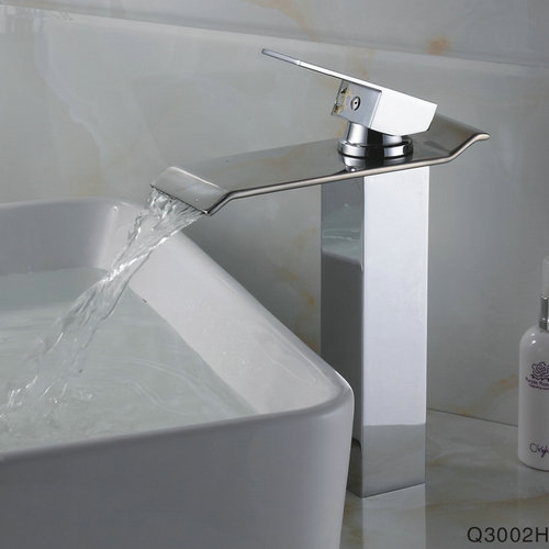Contemporary Brass Bathroom Sink Tap - Chrome Finish (Tall) TQ3002H