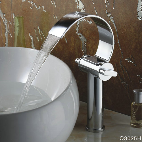 Special Design Chrome Finish Waterfall High Curve Spout Bathroom Sink Tap TQ3025H