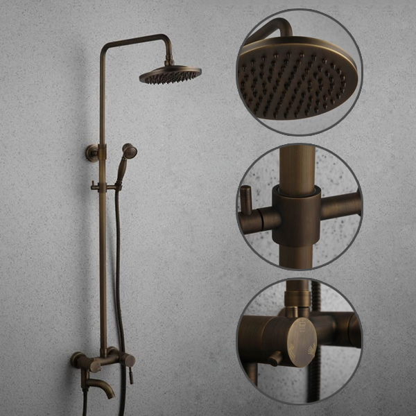 Antique Brass Tub Shower Tap with 8 inch Shower Head + Hand Shower TSA001