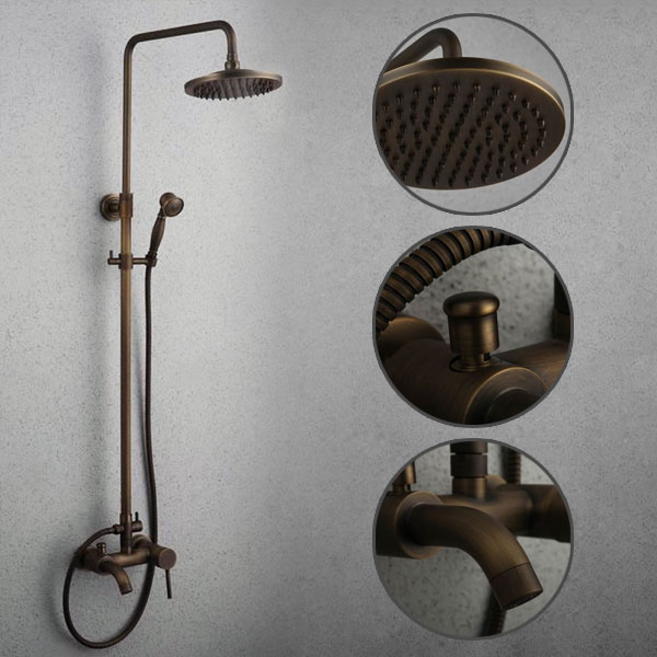 Antique Oil-rubbed Bronze Tub Shower Tap with 8 inch Shower Head + Hand Shower - TSA004