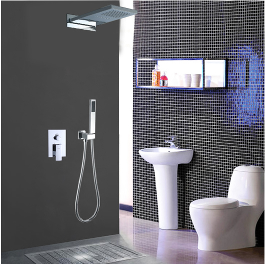 Chrome Wall Mount Rain Single Handle Luxury Shower Tap TSC030