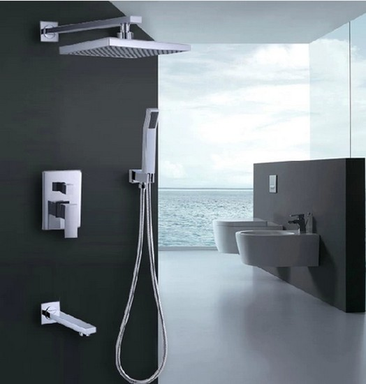 Contemporary Shower Tap with 8 inch Shower head + Hand Shower TSC032