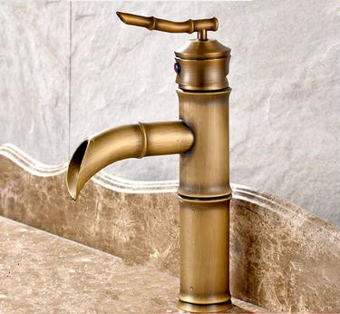 New Antique Brass Bamboo Bathroom Sink Tap T0135F