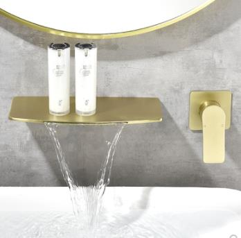 Antique Nickel Brushed Golden Wall Mounted Bathroom Basin Tap Laundry Pool Tap T0228G