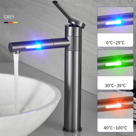 LED Color Changing Waterfall 360° Rotatable Brass Grey Brushed Mixer Tall Bathroom Sink Tap T0228LH