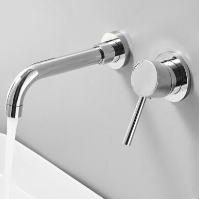Brass Concealed Installation Chrome Wall Mounted Bathroom Sink Tap T0235C