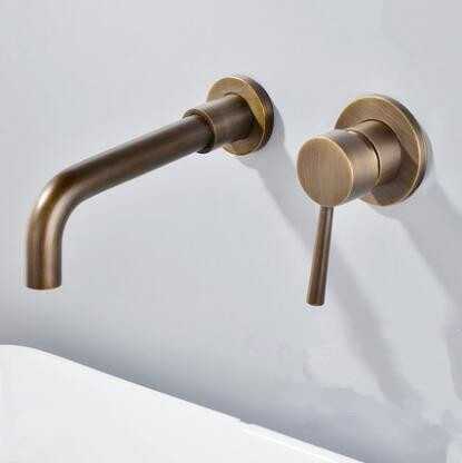 Antique Brass Concealed Installation Wall Mounted Bathroom Sink Tap T0245A