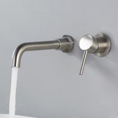 Antique Nickel Brushed Brass Concealed Installation Wall Mounted Bathroom Sink Tap T0245N