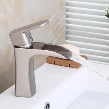 Contemporary Nickel Brushed Brass Waterfall Bathroom Mixer Sink Tap T0268N