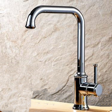 Bright Silver Finish Brass Single Handle Swivel Kitchen Tap T03001