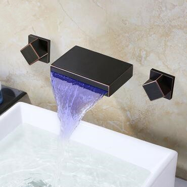Black Brass LED Color Changing concealed Installation Bathroom Sink Tap T0368B