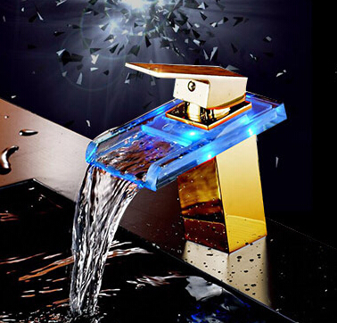 2015 Luxurious Designed LED Golden Waterfall Bathroom Sink Mixer Tap T0398G
