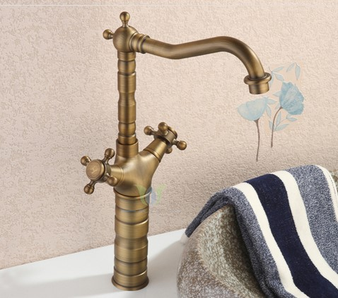 Antique Brass Finish Bathroom Sink Tap (Tall) T0415H
