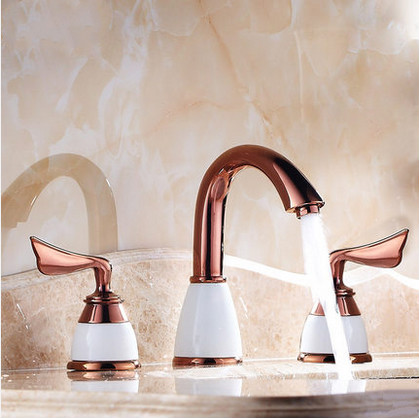 Classic Antique Brass Widespread Rose Gold Bathroom Sink Tap T0452R