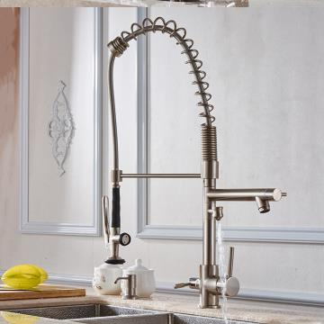 Brass Multi-function Pull Out Mixer Drinking water Kitchen Sink Tap T0704C