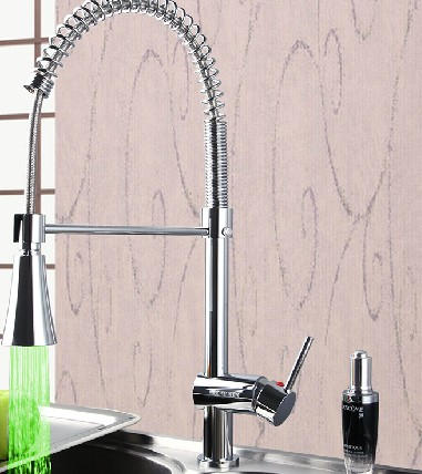 Contemporary LED Colour Change Single Handle Chrome Centerset Pull-out Kitchen Tap T0746