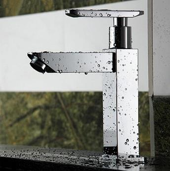 New Style Chrome Square Single Handle Single Cold Water Bathroom Sink Tap T0898F
