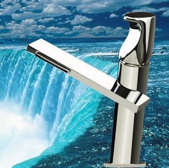 New Style Brass Waterfall Outlet Bathroom Sink Tap Single Handle Mixer Tap T1029C