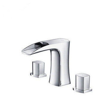 Waterfall Brass Three Holes Two Handles Bathroom Sink Tap T1030D