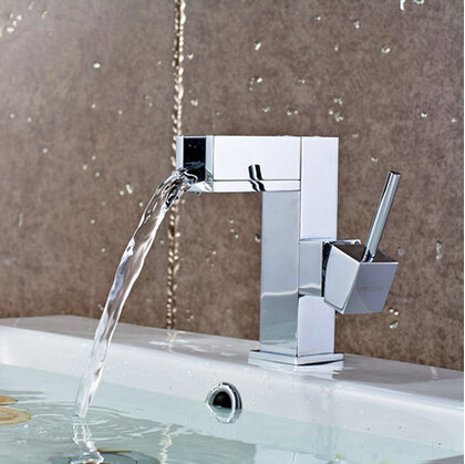 Waterfall Bathroom Brass Single Handle Mixer Sink Tap (Short version) T1032F