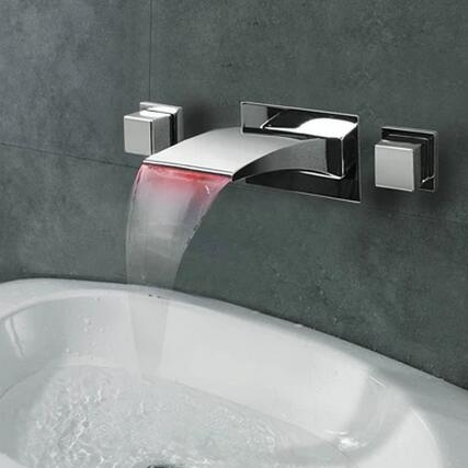 New LED Waterfall Three-pieces Wall Mounted Bathroom Sink Tap T1065