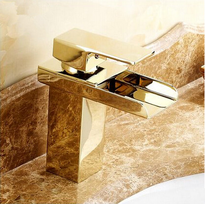 Hot Sale Brass Gold Bathroom Sink Tap Waterfall Mixer Tap T1122G