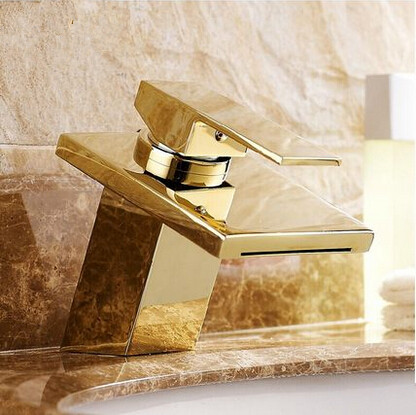 Hot Sale Brass Gold Bathroom Sink Tap Waterfall Mixer Tap T1122H