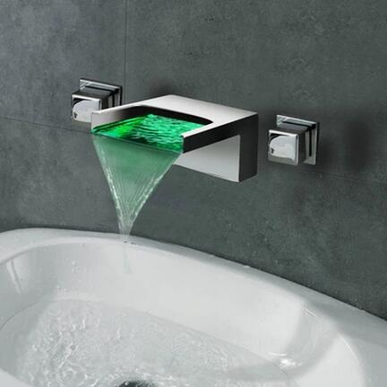 Contemporary LED Waterfall Two Handles Wall Mounted Bathroom Sink Tap T1245