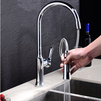 Fashion Art New Pull Out Kitchen Tap Brass Rotatable Mixer Tap T228PH