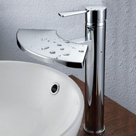 Contemporary Brass Bathroom Sink Tap - Chrome Finish T6007