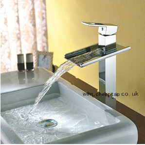 Solid Brass Contemporary Waterfall Single Handle Bathroom Sink Taps Chrome Finish T8004HM