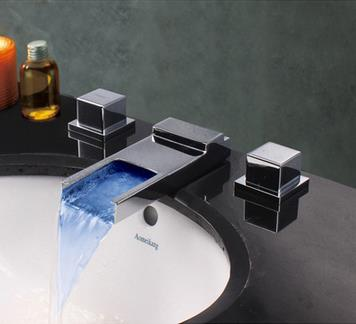 Contemporary Two Handles Chrome Waterfall Led Bathroom Sink Tap T80051