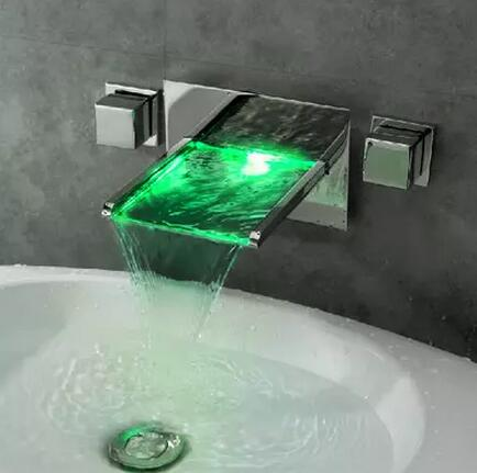 Contemporary LED Waterfall Wall Mounted Bathroom Sink Tap Tub Tap T8015