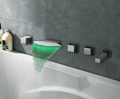 Thermochromic Contemporary Chrome Finish LED Waterfall Bathroom Tub Tap T8046