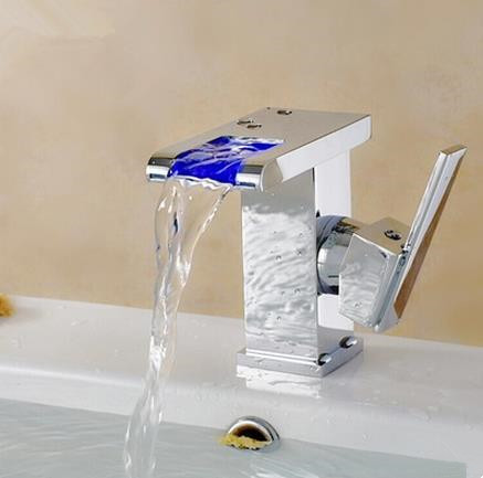 Contemporary Color Changing LED Waterfall Bathroom Sink Tap - T9001