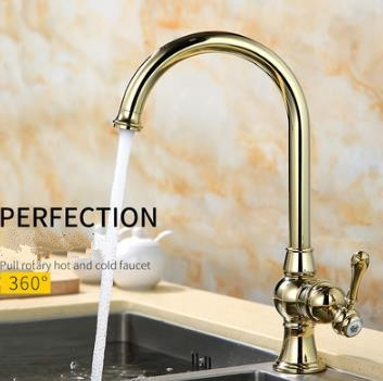 Brass Ti-PVD 360° Rotatable Golden Kitchen Mixer Water Sink Tap TA0195G
