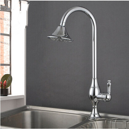 Chrome Brass Kitchen Basin Tap Single Handle One Hole Rotatable Rainfall Tap TA077CS