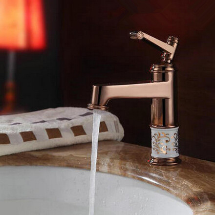 Antique Brass Rose Gold Bathroom Mixer Water Single Handle Sink Tap TA091R