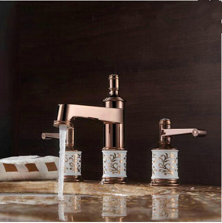 Antique Brass Rose Gold Two Handles Classical Bathroom Sink Tap TA091RG
